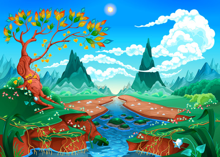 Natural landscape with river, tree and mountains. Vector illustration
