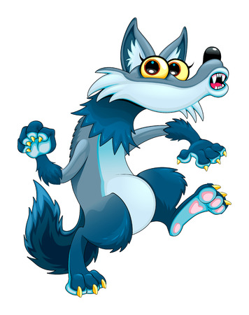 Funny walking wolf. Vector cartoon isolated character.