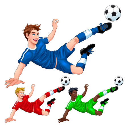 Three soccer players with different hair, skin and dress colors. Vector cartoon isolated characters Illustration