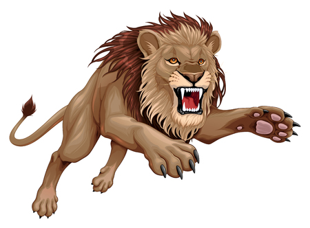 Angry lion is jumping. Vector cartoon illustration