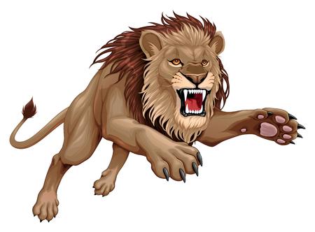 León enojado está saltando. Ilustración de dibujos animados de vector