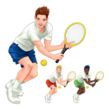 Three tennis players with different hair, skin and dress colors. Vector cartoon isolated characters