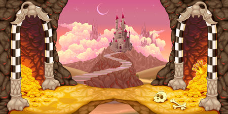 Fantasy landscape with castle, caverns and treasure. Cartoon vector illustration