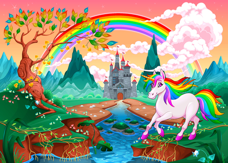 Unicorn in a fantasy landscape with rainbow and castle. Vector illustration.  Illustration