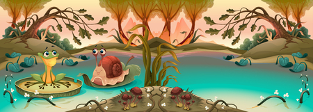 Friendship between frog and snail in the pond.  Vector cartoon illustration