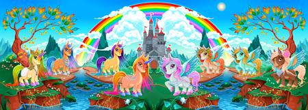 Groups of unicorns and pegasus in a fantasy landscape. Vector cartoon illustration Ilustração
