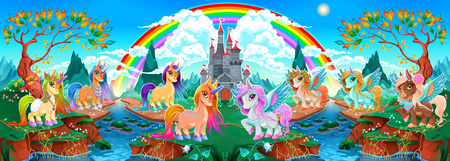 Groups of unicorns and pegasus in a fantasy landscape. Vector cartoon illustration Illustration