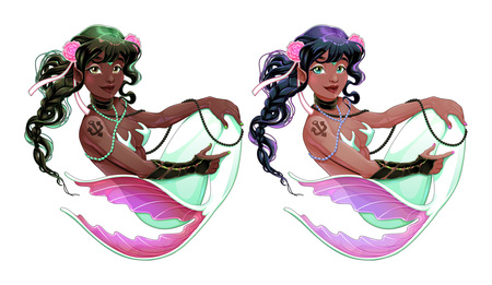Couple of mermaids with different skin and hair colors. Vector cartoon isolated characters.