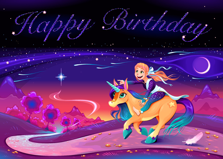 Happy Birthday card with girl riding the unicorn. Vector cartoon illustration