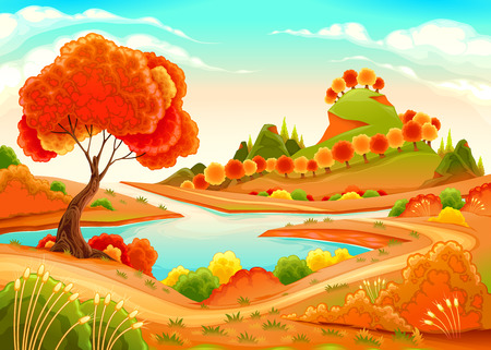 Landscape with pond, trees and hills. Vector illustration