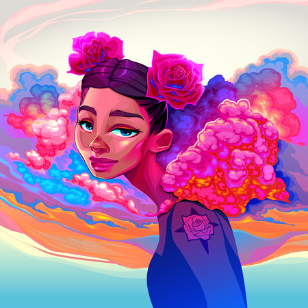 Beautiful girl with clouds and roses in the hair. Vector illustration