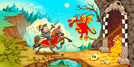 Knight fighting the dragon with treasure in a mountain landscape. Funny cartoon medieval fantasy vector illustration.