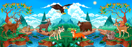 Funny wood animals in a mountain landscape with river. Vector cartoon illustration Illustration
