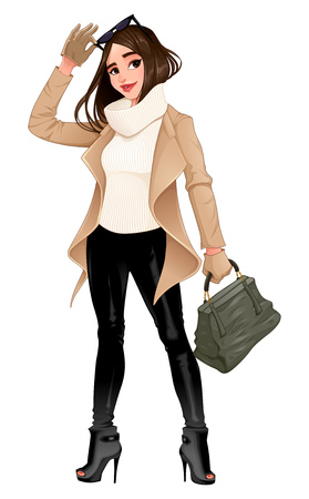 Fashion girl posing with sunglasses in her hands. Vector isolated character Illustration