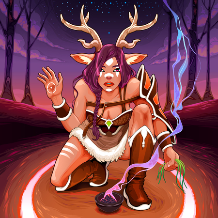 Female Faun is making an healing ritual in the wood. Vector fantasy illustration