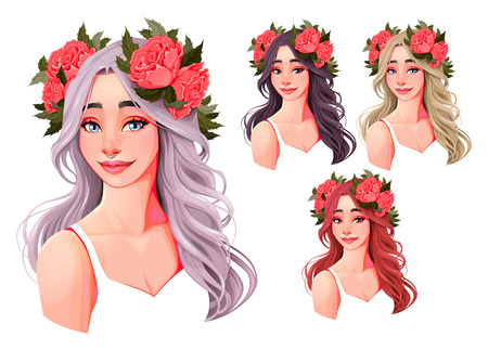 Beautiful girls with flowers on their heads. Four hair colors, isolated characters. Illustration