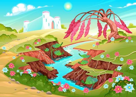 Fantasy landscape with river, tree and castle. Vector illustration