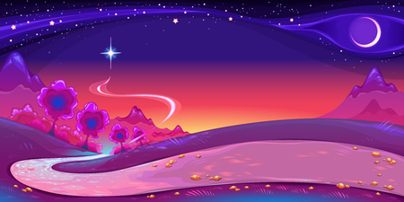 Nocturnal landscape with a big star in the sky. Vector fantasy illustration