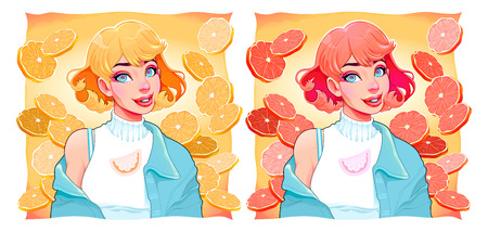 Two girls with slices of lemon and orange on backgrounds. Vector illustrations Illustration