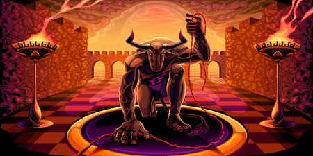 Minotaur in the labyrinth with a filament in his hand. Mythological vector illustration