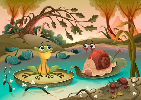 Friendship between frog and snail.  Vector cartoon illustration
