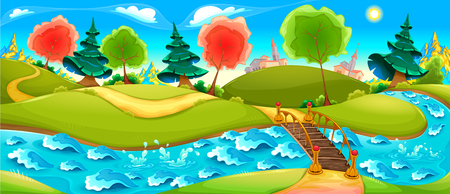 Funny landscape with river, trees and town on the horizon. Vector cartoon illustration Illustration