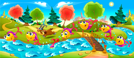 Happy Fish are dancing in the river. Vector cartoon illustration for the childhood  イラスト・ベクター素材