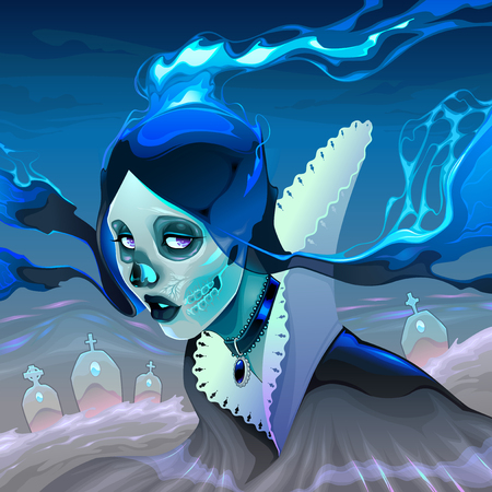 Portrait of a ghost girl in the cemetery. Vector horror illustration Иллюстрация