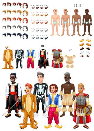 Dresses and hairstyles game with male avatars. Vector illustration, isolated interchangeable objects. Иллюстрация