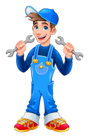 Young mechanic with monkey wrenches in his hands. Vector cartoon isolated character.