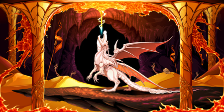 Temple of the temporal power. Vector cartoon illustration representing a dragon inside a golden cavern Ilustração