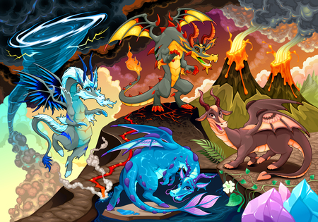 Cycle of air, earth, fire, and water with each dragon. Fantasy vector illustration 向量圖像