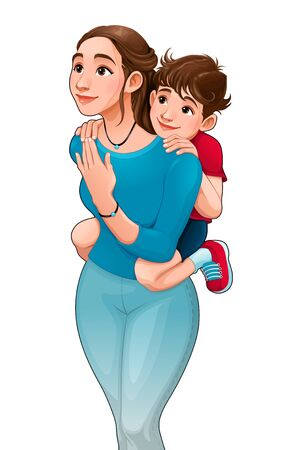 Mother with son on her back. Vector cartoon isolated characters