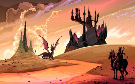 Knight with horse against the dragon. Vector fantasy landscape illustration  イラスト・ベクター素材