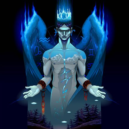 Representation of a dark chained angel, the prince of the power of the air. Vector horror fantasy illustration