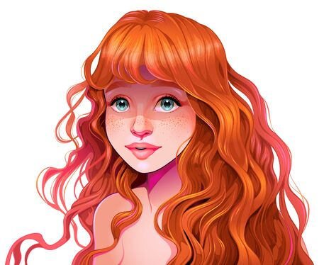 Girl with red hair. Vector isolated illustration