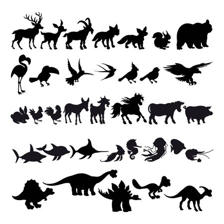 Silhouettes of cartoon animals. Vector isolated elements.