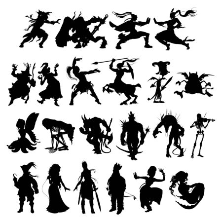 Silhouettes of cartoon fantasy characters. Vector isolated elements.