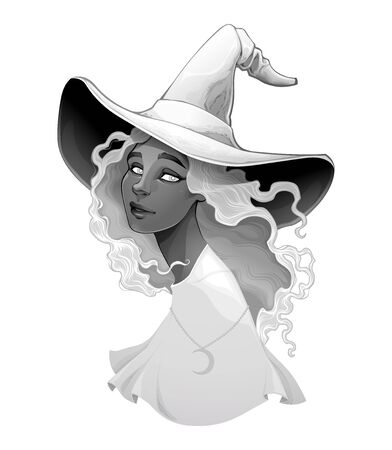 Portrait of a witch in gradients of gray. Vector halloween isolated character.