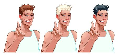 Smiling boy in three versions with different hair and eyes colors. Vector isolated characters. Çizim