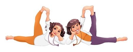 Couple of women doing yoga pose. Vector cartoon isolated characters. Banque d'images - 139502688