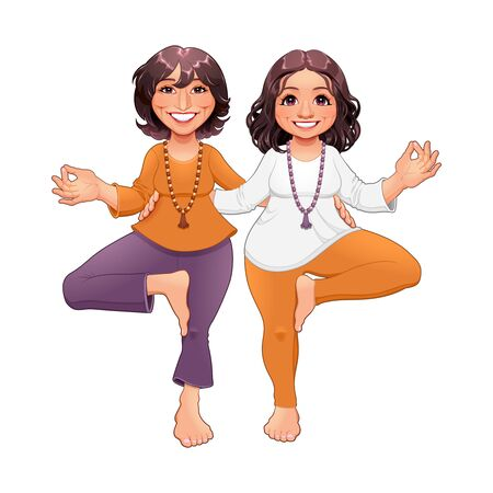 Tree pose in Yoga, couple of cartoon vector characters.