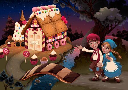 kids near the candy house. Vector fantasy illustration Vettoriali