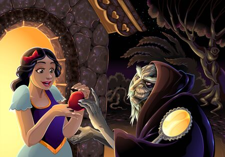 Snow White and the witch. Vector fantasy illustration Vettoriali