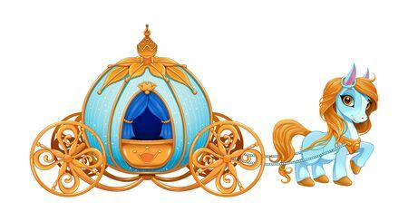 Cinderella pumpkin carriage. Vector isolated illustration