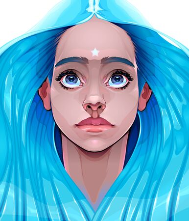 Portrait of a young woman symbolizing hope. Vector illustration
