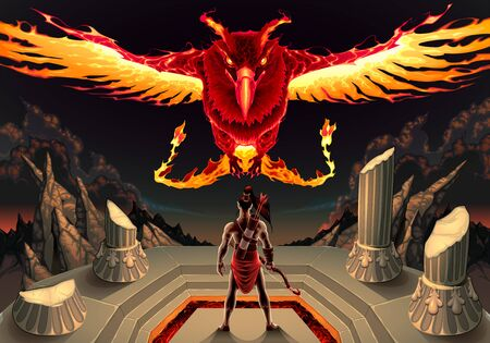 The Phoenix and the man. Vector fantasy illustration