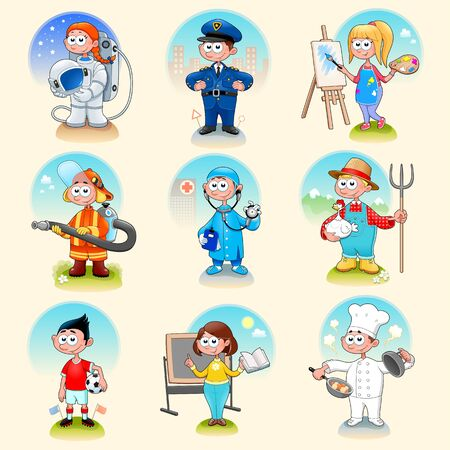 Group of workers for children. Vector illustration