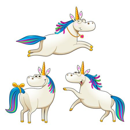 Group of funny unicorns. Vector isolated characters