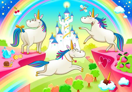 Group of funny unicorns with castle and fantasy landscape. Vector cartoon illustration Vettoriali